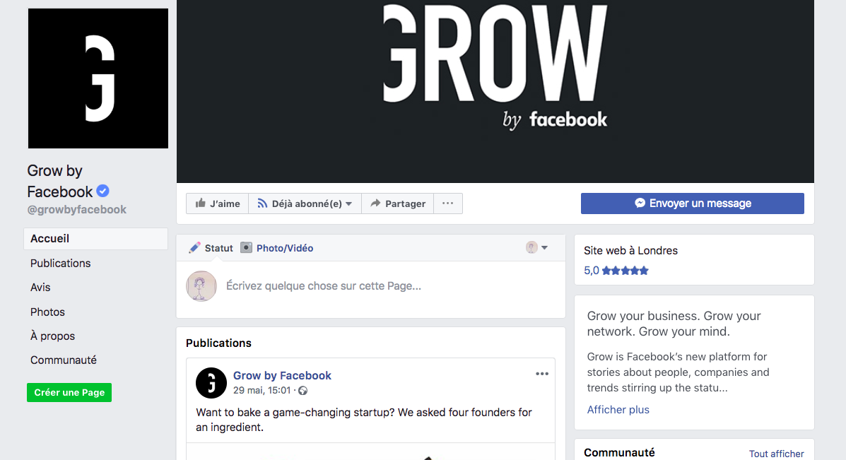 Le premier numéro de Grow by Facebook