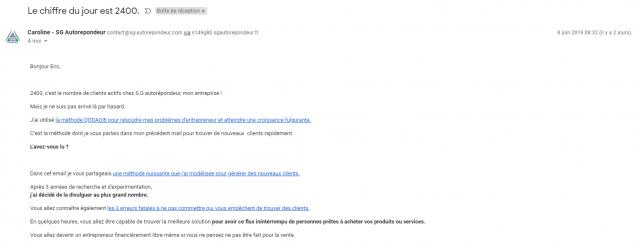 Rédaction d'un emailing le début avec l'annonce de l'identité de l'expéditeur