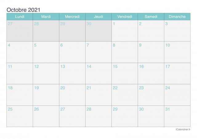 Octobre 2021, le calendrier éditorial